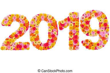 Año nuevo 2019 hecho de flores gerbera aisladas en fondo blanco