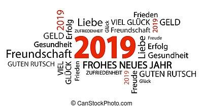 año, nuevo, 2019, saludos, palabra, nube