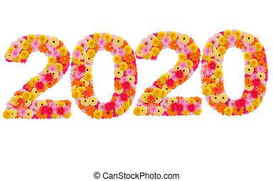 Año nuevo 2020 hecho de flores gerbera aisladas en fondo blanco