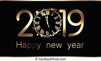 año, nuevo, clock., 2019, fondo negro