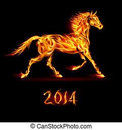 Año nuevo de 2014: caballo de fuego.