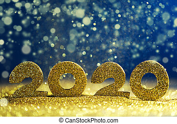 año, nuevo, diseño, 2020, lujo