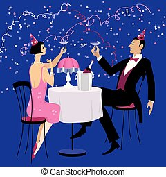 año, nuevo, estilo, años 20, rugido, celebrar