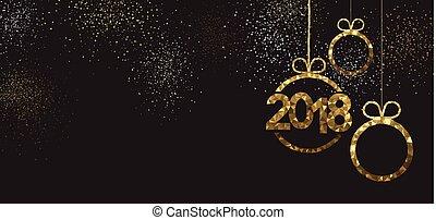 año, nuevo, negro, 2018, banner.