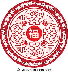 año nuevo, redondo, chino, icono