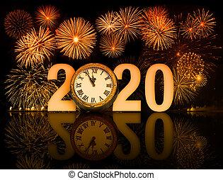 año, nuevo, reloj, 2020, cara, fuegos artificiales
