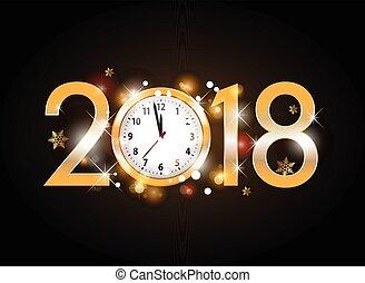 año, nuevo, reloj, cartas, negro, dorado, 2018, plano de fondo