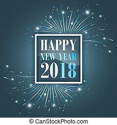 Año Nuevo saluda a 2018 con fuegos artificiales, brillo, estrellas y brillo.