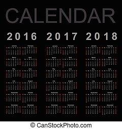 año, vector, 2016, 2018, calendario, 2017