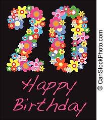 año, veinte, cumpleaños, feliz