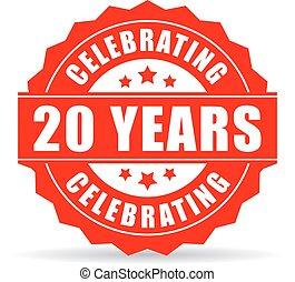 años, celebrar, icono, aniversario, veinte