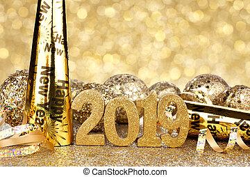 años, nuevo, eva, 2019, plano de fondo, decoraciones, centelleo