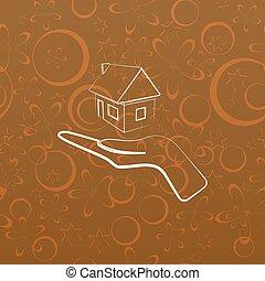 A casa en la línea de entrega del icono vectorial