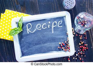 A la mesa para la receta
