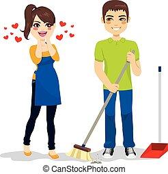 A la mujer le encanta limpiar novios