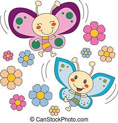 A las mariposas les encantan las flores