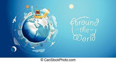 A través del mundo gira en coche. Ilustración de vectores de viaje