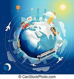 A través del mundo gira por diferentes vehículos. Ilustración de vectores de viaje