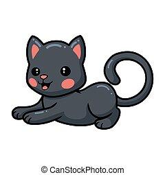 abajo, caricatura, gato, poco, acostado, lindo, negro