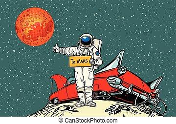 abajo, coche, camino, se estropeó, espacio, astronauta, autostopista, mars.