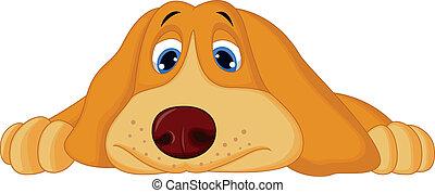 abajo, lindo, acostado, caricatura, perro