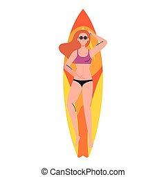 abajo, tabla de surf, acostado, mujer, vacaciones, verano, traje de baño, estación
