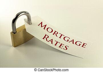 abajo, tasas, concepto, cerrar con llave, hipoteca