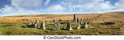 abajo, tor, círculo de piedra, dartmoor