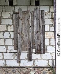 abandonado, edificio de ladrillo