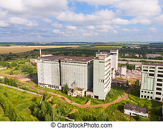 abandonado, grano, sobre, elevador, russia., yaransk, vista