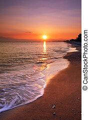 abandonado, playa, ocaso