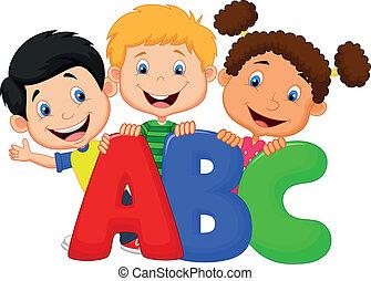 abc, caricatura, niños, escuela