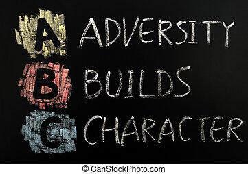 abc, construye, siglas, -, carácter, adversidad