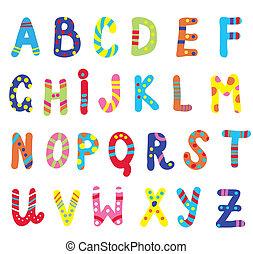 abc, niños, divertido, diseño