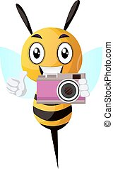 Abeja sosteniendo una cámara, ilustración, vector de fondo blanco.