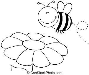 Abejas esbozadas volando sobre flor