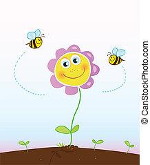 Abejas y flores