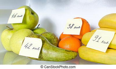 abierto, calorías, marcado, lleno, fruits, refrigerador