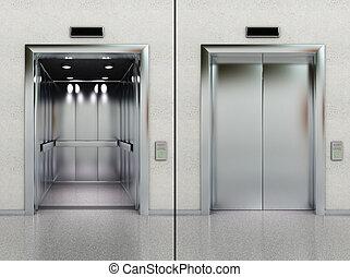 abierto, cerrado, elevador