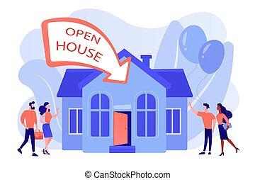 abierto, illustration., concepto, vector, casa