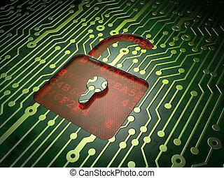 abierto, plano de fondo, candado, tabla, circuito, datos, concept: