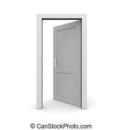 abierto, solo, puerta, gris