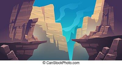 abismo, paisaje, montaña, rocas