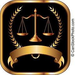 abogado, ley, o, sello oro