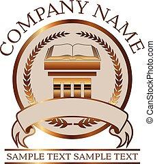 abogado, sello, libro, o, ley, oro, columna, dórico, -