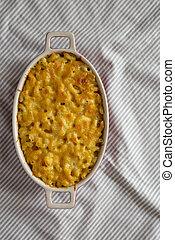 above., pastas, queso, vista., tela, copia, plano, macarrones, cima, space., casero, arriba, colocar