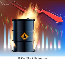 abrasador, financiero, contra, graph., declinante, aceite, fondo, barril