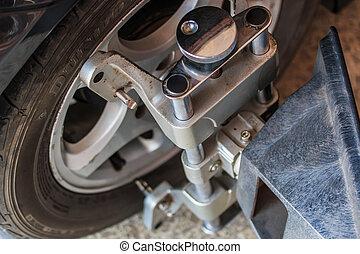 abrazadera rueda, coche, máquina, automatizado, fijo, alineación