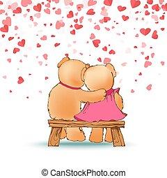 Abrazando osos de peluche sentados en vector de banco de madera