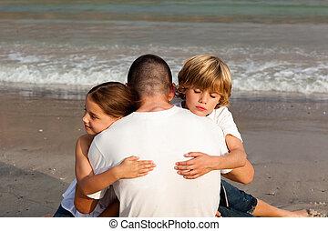 abrazar, niños, su, padre
